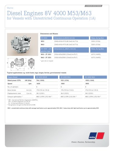 MTU Diesel Engines 8V 4000 M53/M63 for Vessels with Unrestricted Continuous Operation (1A)