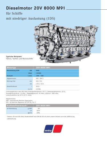 MTU Dieselmotor 20V 8000 M91 für Schiffe mit niedriger Auslastung (1DS)