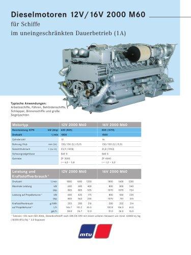 MTU Dieselmotoren 12V/16V 2000 M60 für Schiffe im uneingeschränkten Dauerbetrieb (1A)