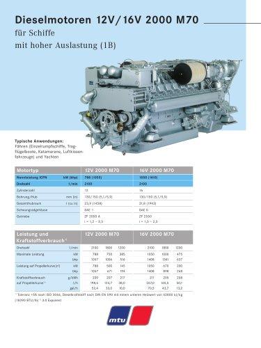 MTU Dieselmotoren 12V/16V 2000 M70 für Schiffe mit hoher Auslastung (1B)