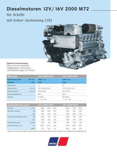 MTU Dieselmotoren 12V/16V 2000 M72 für Schiffe mit hoher Auslastung (1B)