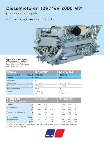 MTU Dieselmotoren 12V/16V 2000 M91 für schnelle Schiffe mit niedriger Auslastung (1DS)