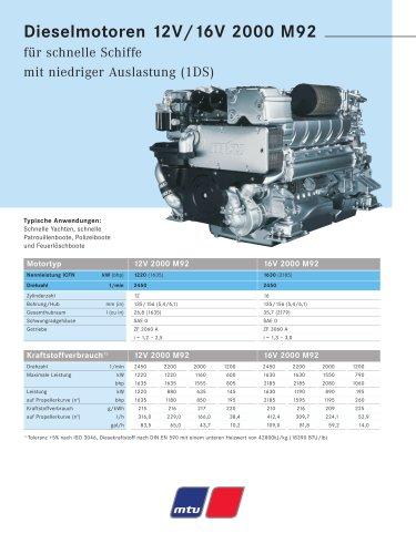MTU Dieselmotoren 12V/16V 2000 M92 für schnelle Schiffe mit niedriger Auslastung (1DS)