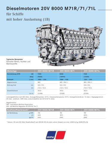 MTU Dieselmotoren 20V 8000 M71R/71/71L für Schiffe mit hoher Auslastung (1B)