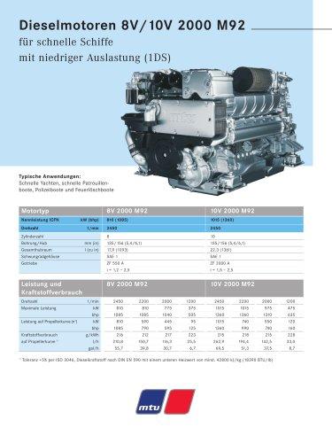 MTU Dieselmotoren 8V/10V 2000 M92 für schnelle Schiffe mit niedriger Auslastung (1DS)