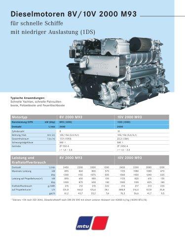 MTU Dieselmotoren 8V/10V 2000 M93 für schnelle Schiffe mit niedriger Auslastung (1DS)