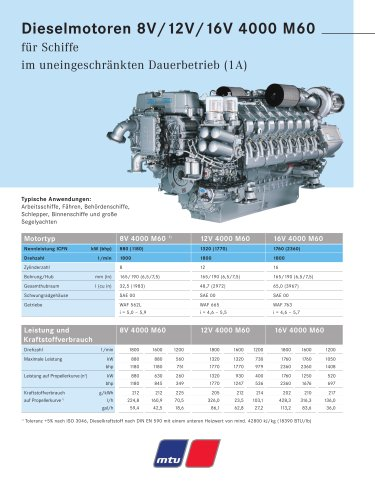 MTU Dieselmotoren 8V/12V/16V 4000 M60 für Schiffe im uneingeschränkten Dauerbetrieb (1A)