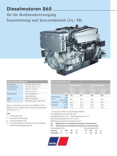 MTU Dieselmotoren S60 für die Bordstromversorgung Dauerleistung und Kurzzeitbetrieb (3A / 3B)