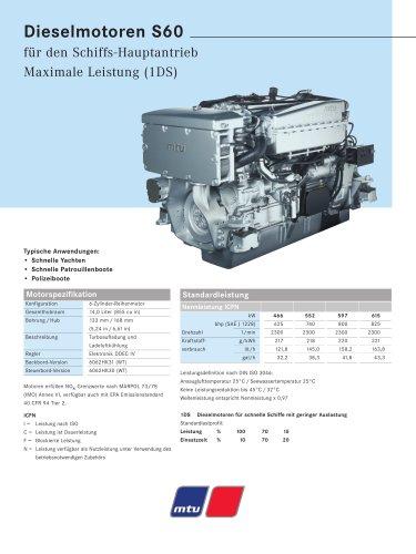 MTU Dieselmotoren S60 für den Schiffs-Hauptantrieb Maximale Leistung (1DS)
