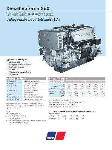 MTU Dieselmotoren S60 für den Schiffs-Hauptantrieb Unbegrenzte Dauerleistung (1 A)