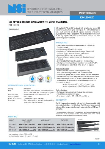 Backlit keyboard with 50mm trackball