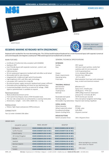 IEC60945 MARINE KEYBOARD WITH ERGONOMIC