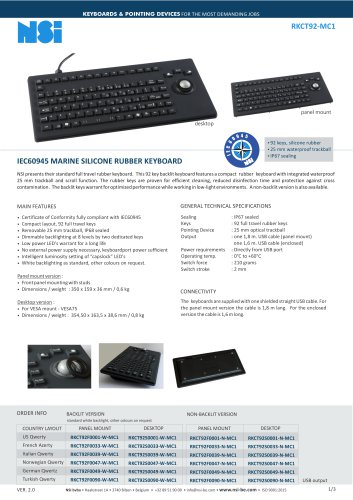IEC60945 MARINE SILICONE RUBBER KEYBOARD