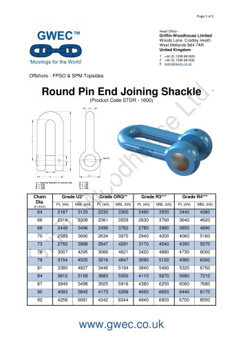 Round Pin End Joining Shackle