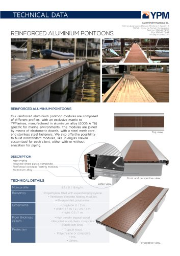 Data sheet aluminum floating pontoon