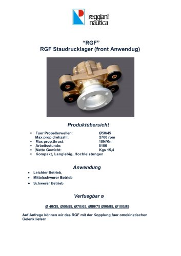RGF STAUDRUCKLAGER FRONT ANWENDUNG