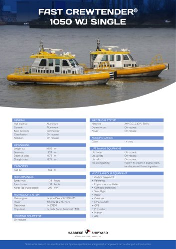 Fast Crewtender 1050 WJ Single