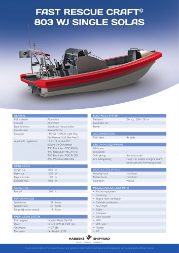 Fast Rescue Craft 803 WJ single solas