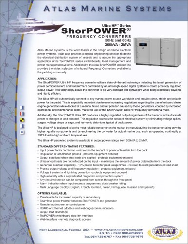 Ultra HP™ Series ShorPOWER® FREQUENCY CONVERTERS 50Hz and 60Hz 300kVA - 2MVA